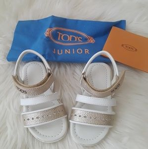 Tods Toddler White/Gold Sandals